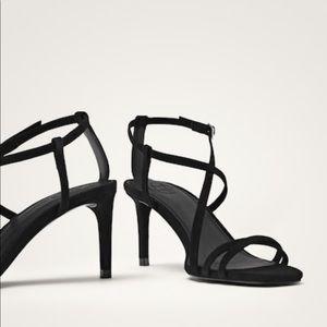 Black suede high heel sandals. NEW